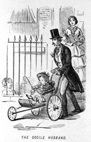 "A drawing of a woman watching from her doorway as her husband takes their child out in a stroller. The caption is ""the docile husband"""